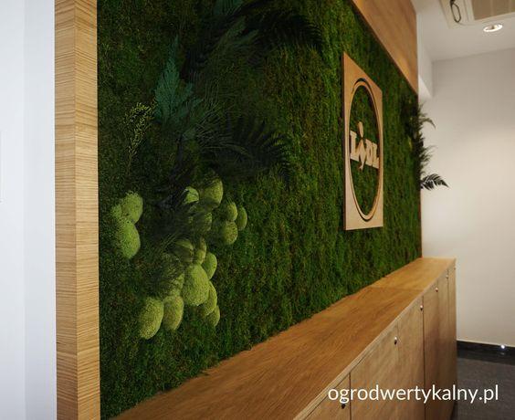 zielona sciana z mchu mieszanego